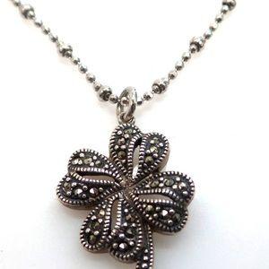 Vintage sliver & marcasite 4 leaf clover necklace